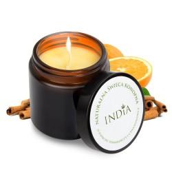 Αρωματικό Κερί από φυσικό κερί σόγιας, λάδι κάνναβης,με άρωμα πορτοκαλιού και κανέλας.