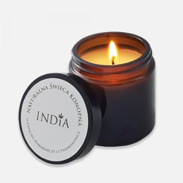 Αρωματικό Κερί από φυσικό κερί σόγιας, λάδι κάνναβης και με άρωμα πορτοκαλιού και κανέλας.